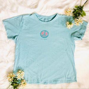 Life is good blue peace sign Tshirt XL